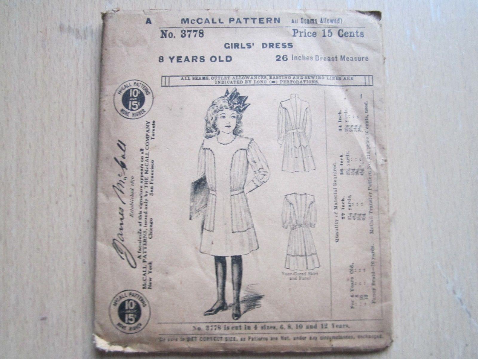 Antique vintage mccall girls dress pattern us ebay sew