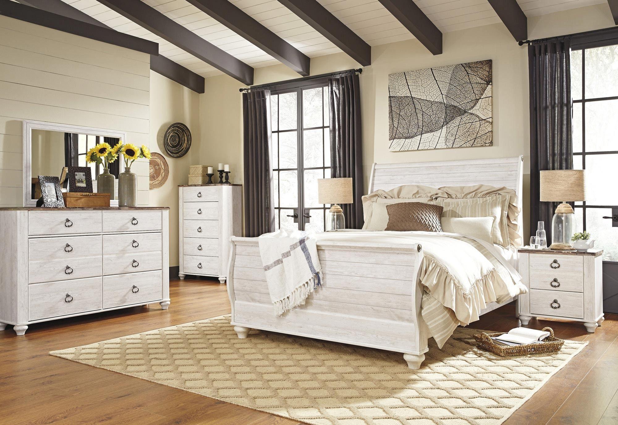 Willowton Whitewash Sleigh Bedroom Set Bedroom set