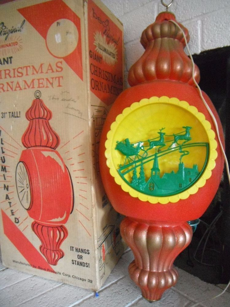 Vintage beco giant 31 christmas lighted outdoor blow mold ornament ebay aloadofball