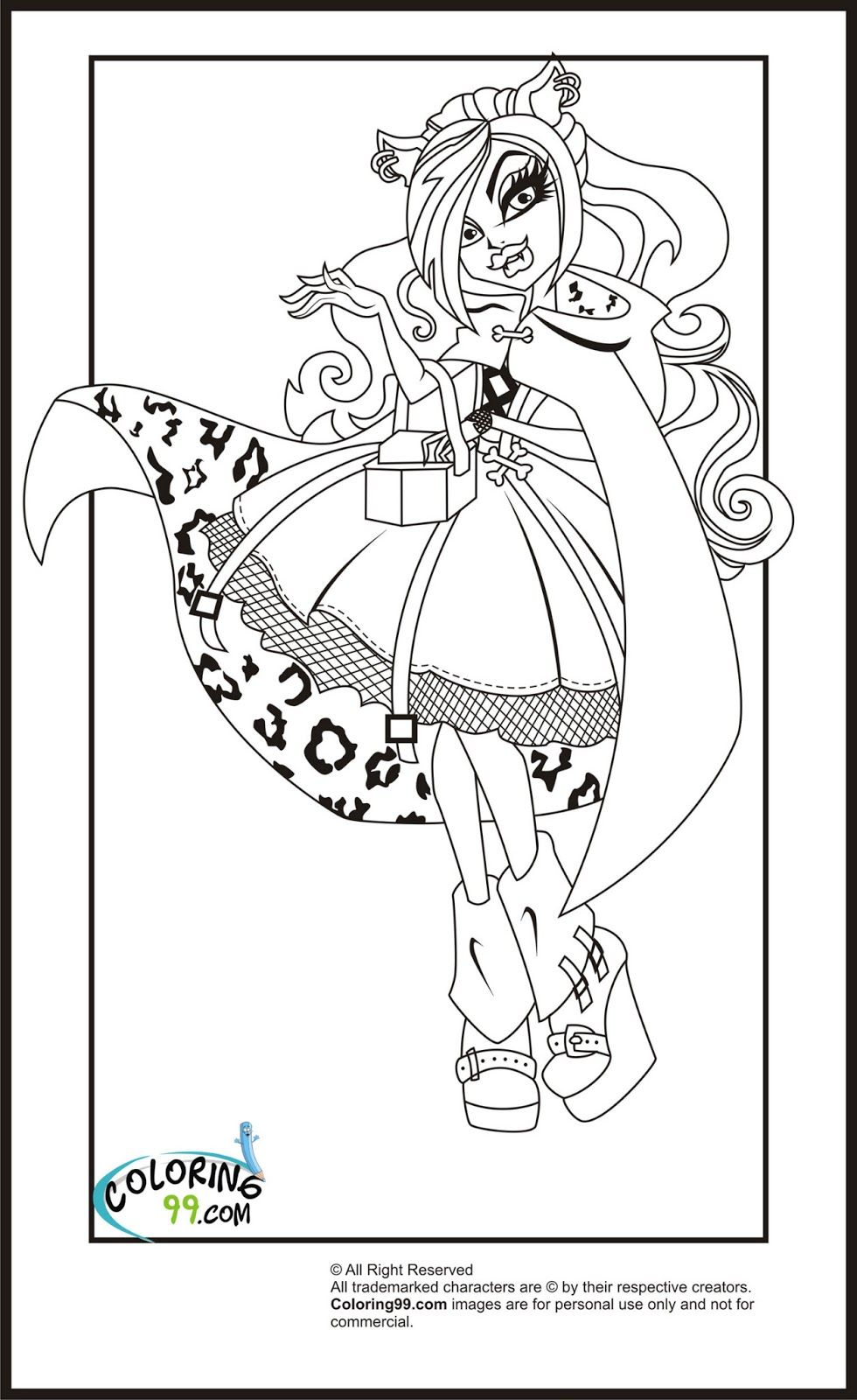 monster high clawdeen wolf coloring pages team colors