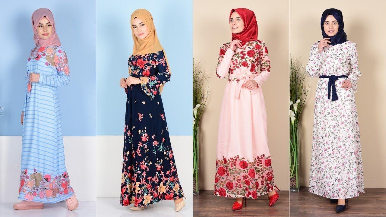 ad476551eaa57 Sefamerve Çiçekli Tesettür Elbise Modelleri | Tesettür in 2019 ...