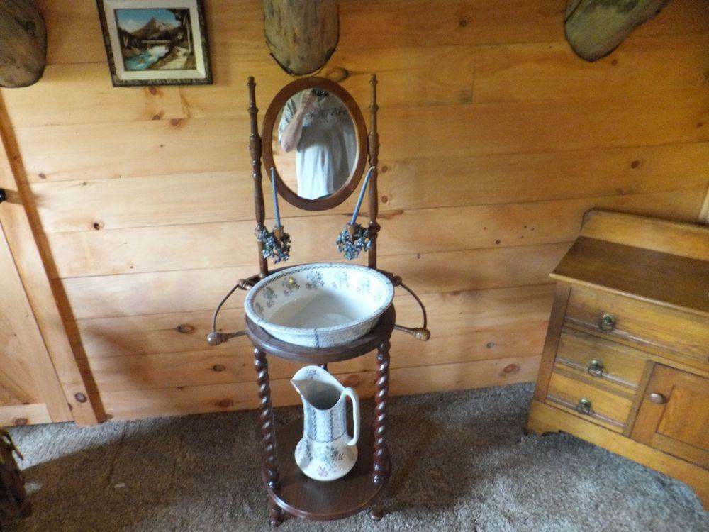 Vintage Oak Wash Basin Stand Vanity With Mirror