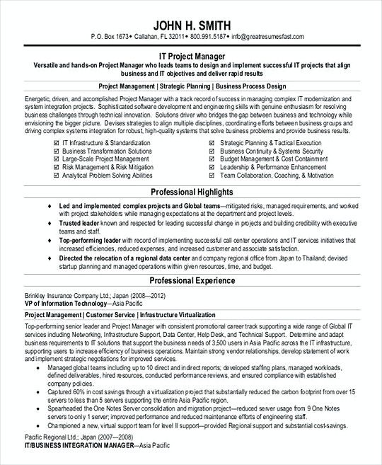 Project Manager resume template PDF , Professional Manager Resume - it project manager resume