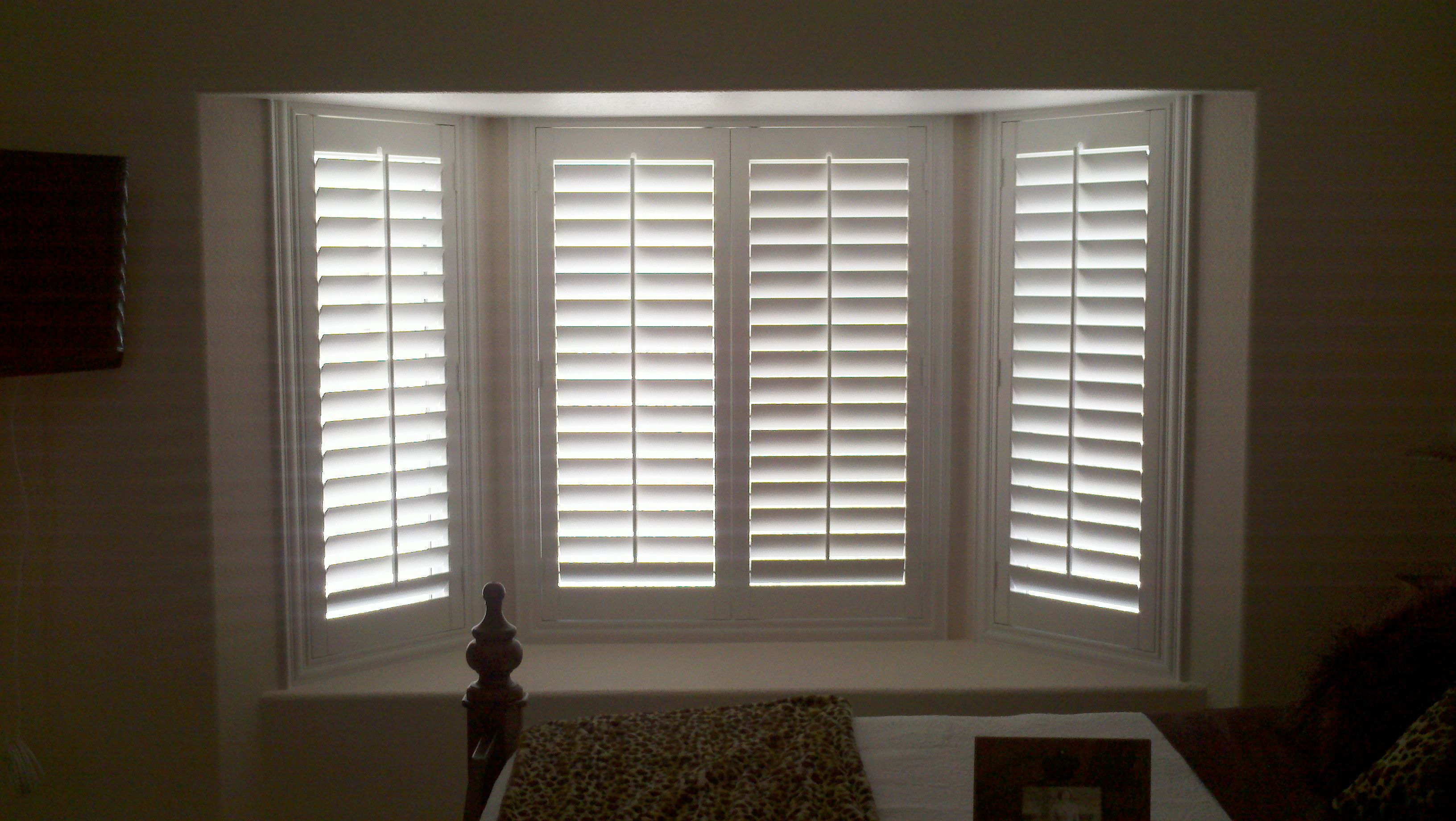 California shutters for bay window. Interior doors for