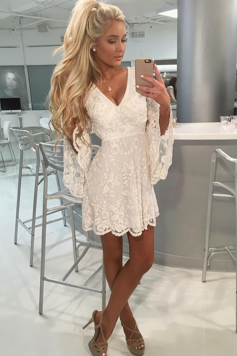Elegant White V Neck Homecoming Dresses With Flare Sleeves Simple Short Prom Party Gowns Cocktail Dress Lace Lace Homecoming Dresses White Homecoming Dresses [ 1348 x 898 Pixel ]