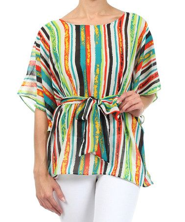 This Green Stripe Cape-Sleeve Top is perfect! #zulilyfinds