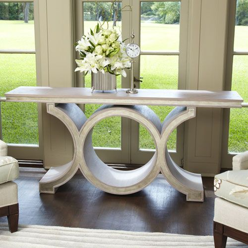 Global Views 2462 Link Gray Leaf Console In Silver Transitional
