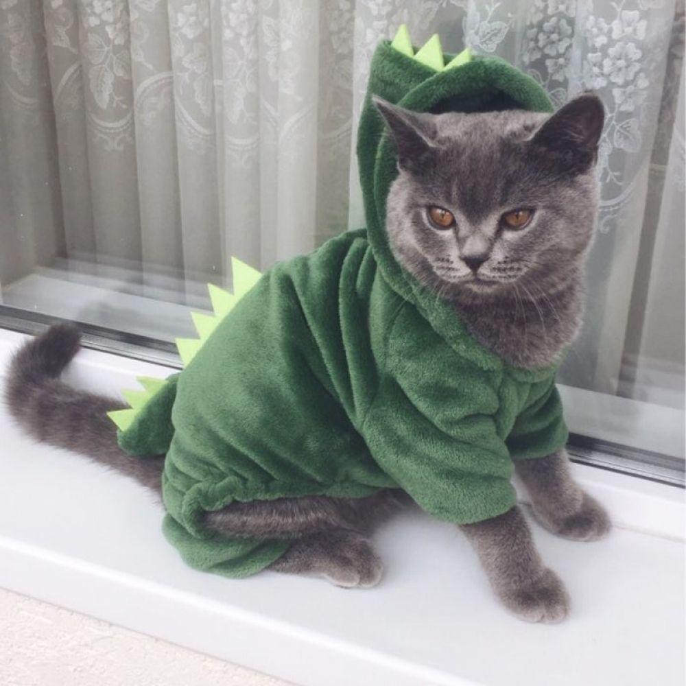 Funny Dinosaur Design Cat Costume In 2020 Cat Costumes Dinosaur Funny Cat Clothes