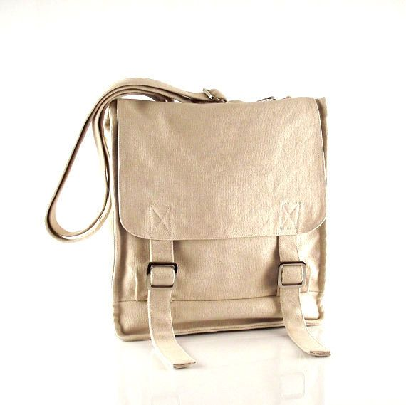 Canvas messenger bag / 14 oz. off white canvas / shoulder bag / Jane. $39.00, via Etsy.