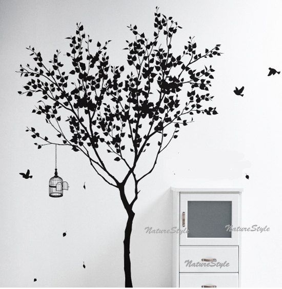 Tree Wall Decal Vinyl StickerNature Design Birdcage Birds Decal - Custom vinyl wall decals for dining room