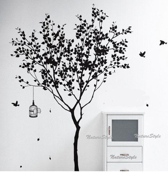 Tree Wall Decal Vinyl StickerNature Design Birdcage Birds Decal - Custom vinyl wall decals for dining room