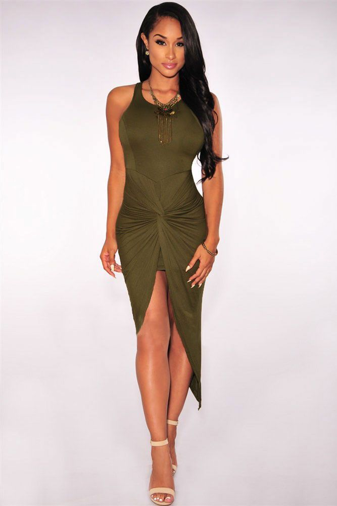 Olive Knotted Dress