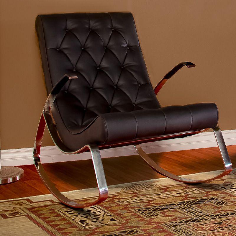 Best Barcelona City Luxury Modern Design Black Leather Rocking 400 x 300