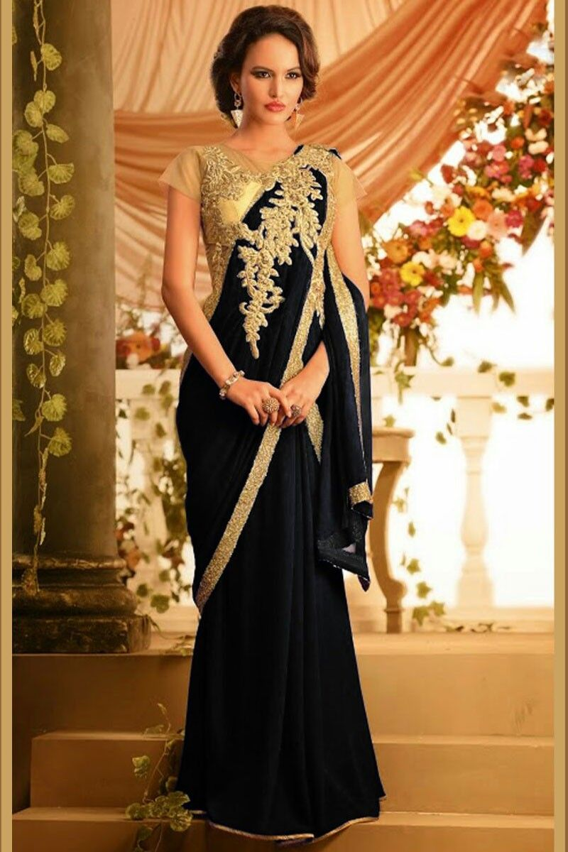 black and gold saree with sequins - Google Search | Fashion | Pinterest