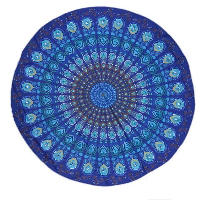 Round Blanket Yoga Mat/Mandalas Peacock feather Design - Unique Designs