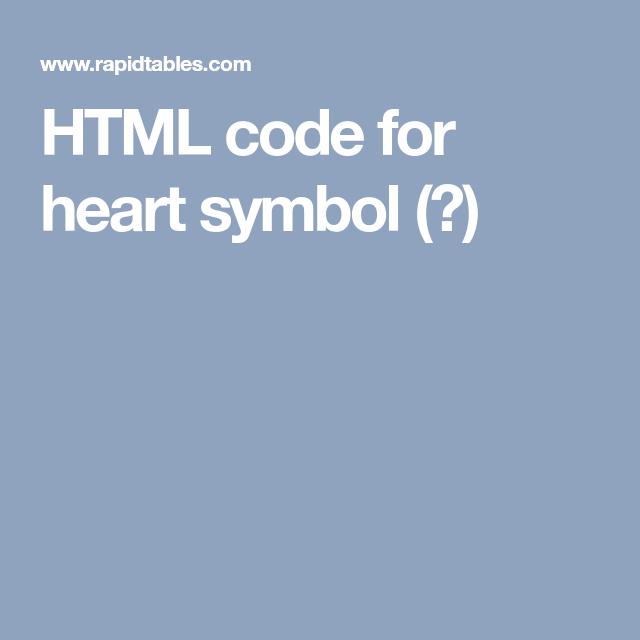 Html Code For Heart Symbol Coding Pinterest