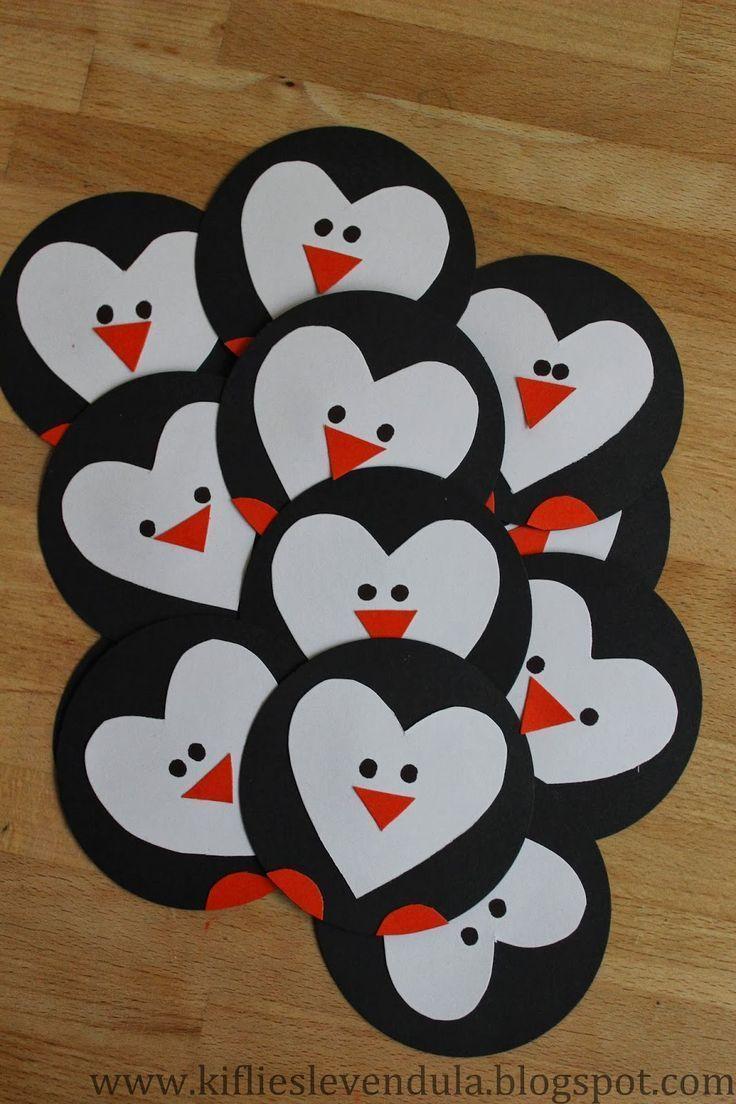 Papierherz-Pinguine! Das süßeste! #fröhlichen Valentinstag - Bastelideen Kinder
