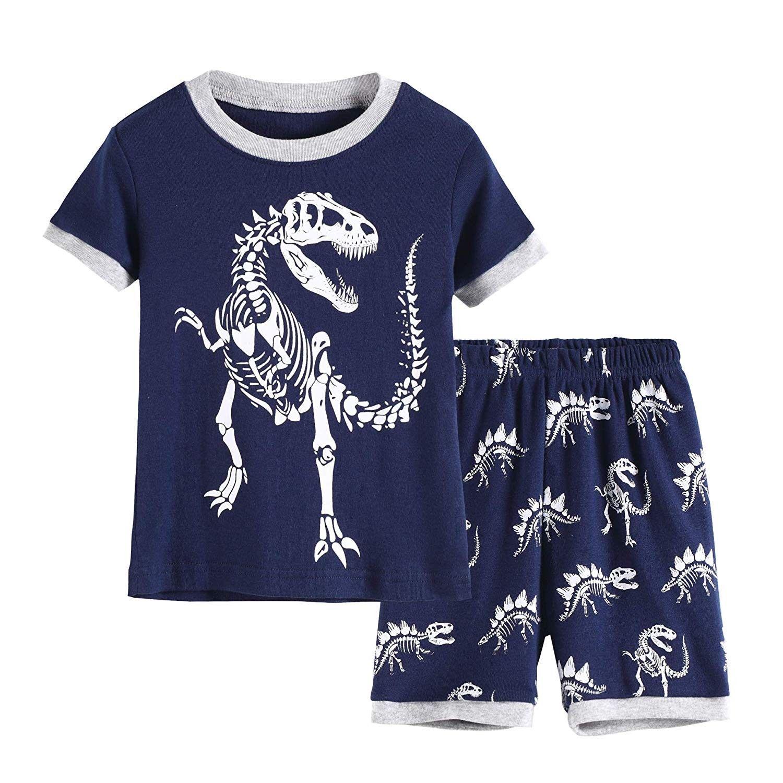 Dinosaur Pajamas Boys Glow in Dark Pjs Cotton Sleepwear Set Toddler Kids Clothes