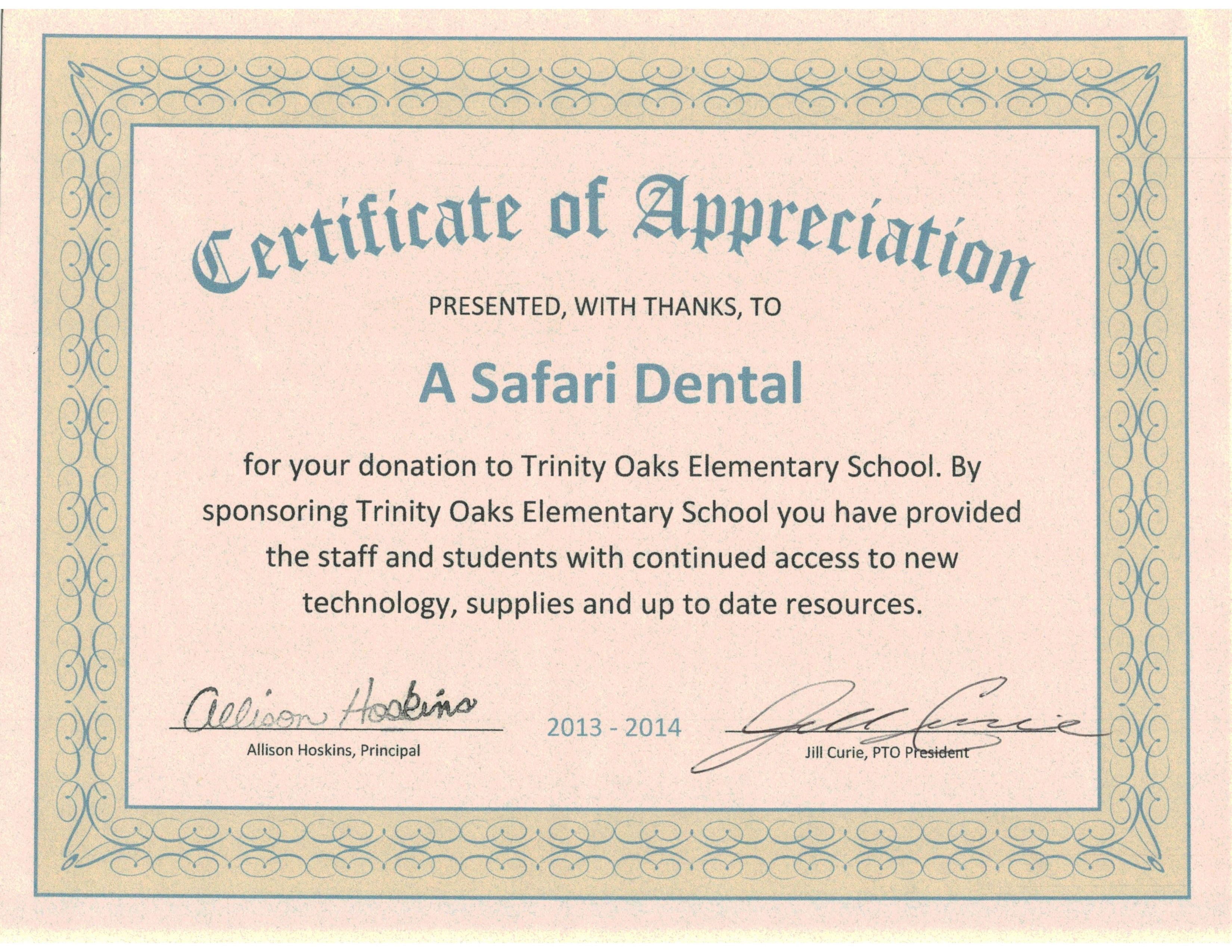 Certificate of appreciation from trinity oaks elementary school certificate of appreciation from trinity oaks elementary school for a safari dental staff donations kidsdentist yelopaper Image collections