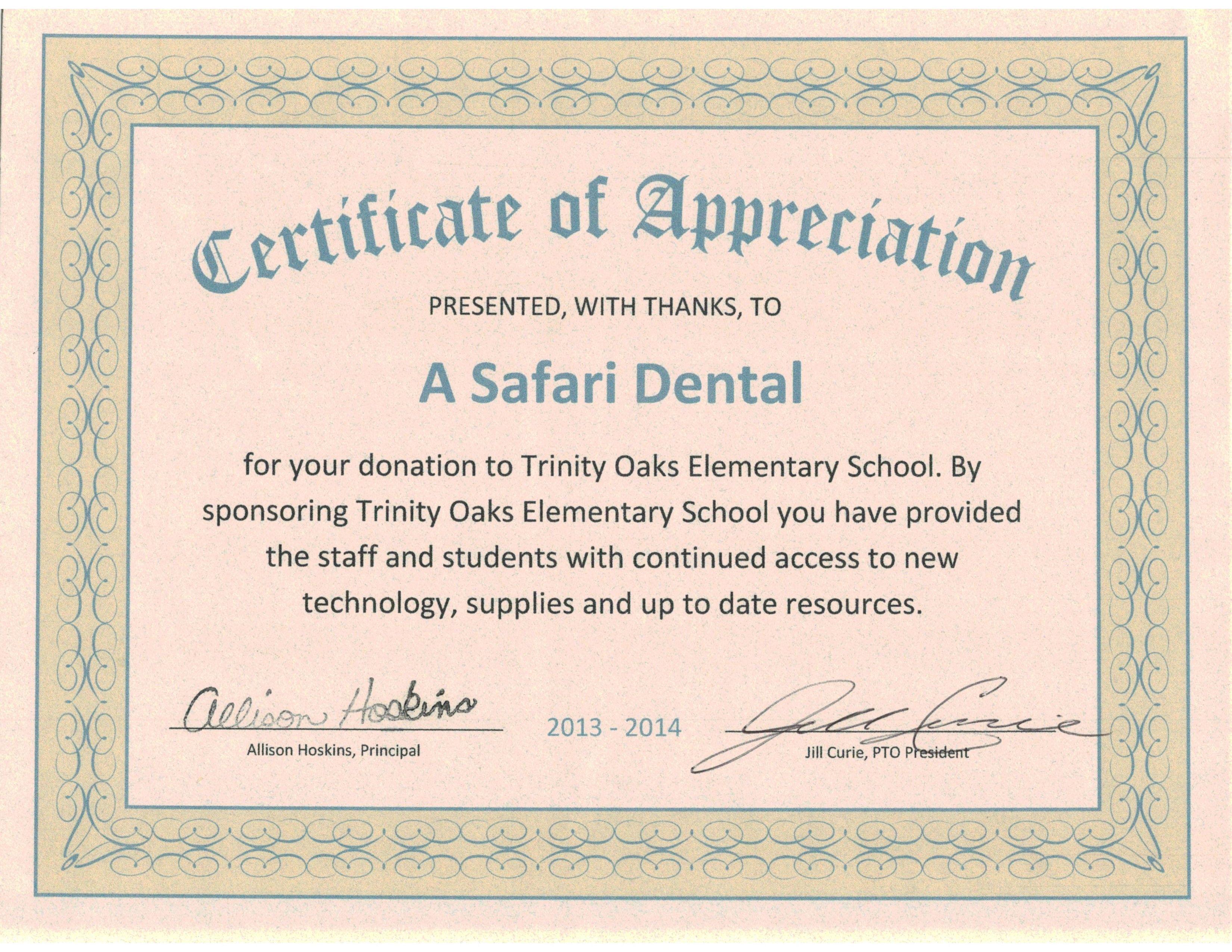Certificate Of Appreciation From Trinity Oaks Elementary School For