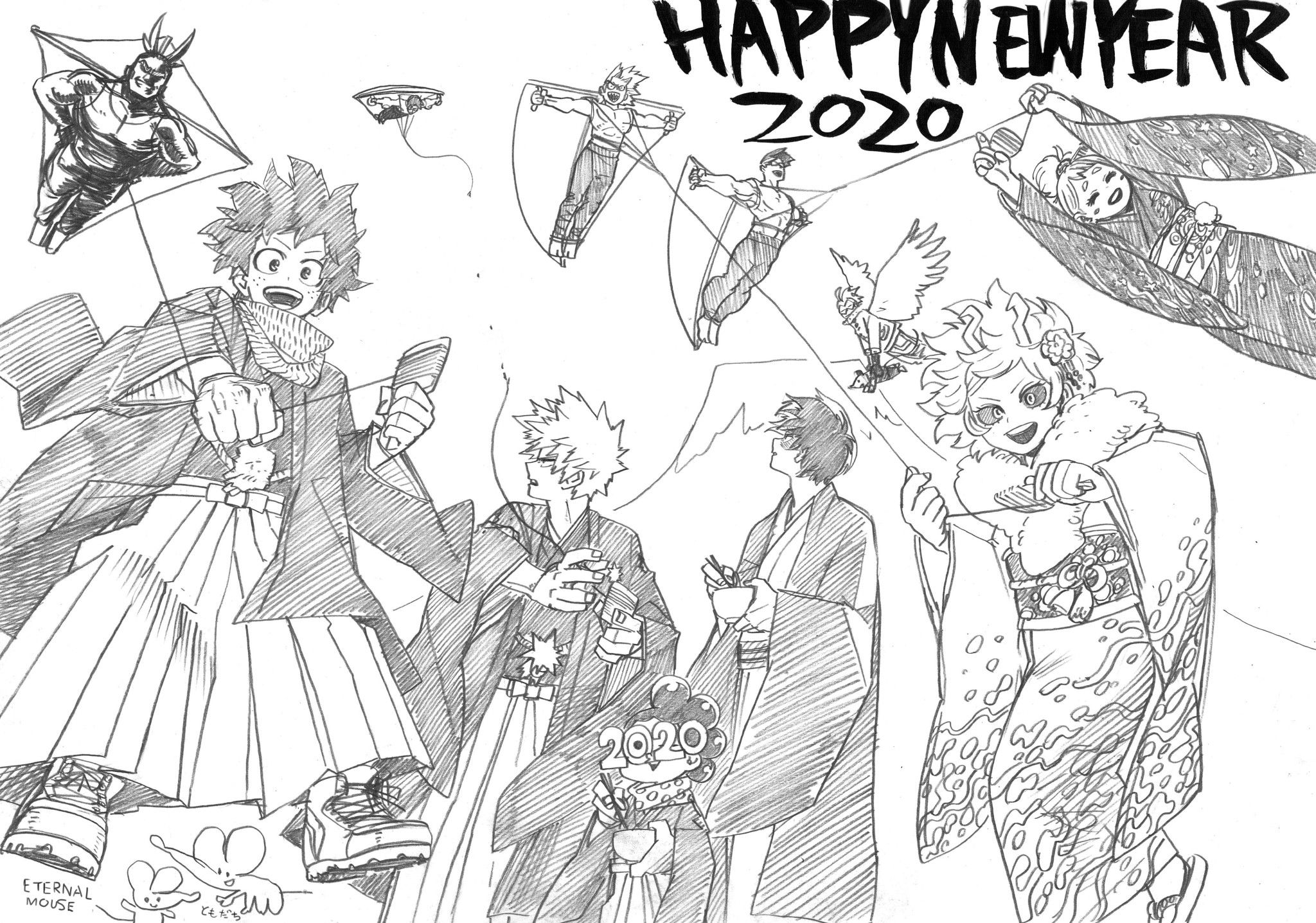 HAPPY NEW YEAR 2020 FROM BNHA🎉 bnha midoriya_izuku
