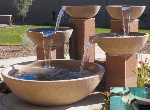 concrete scupper bowls water fountain