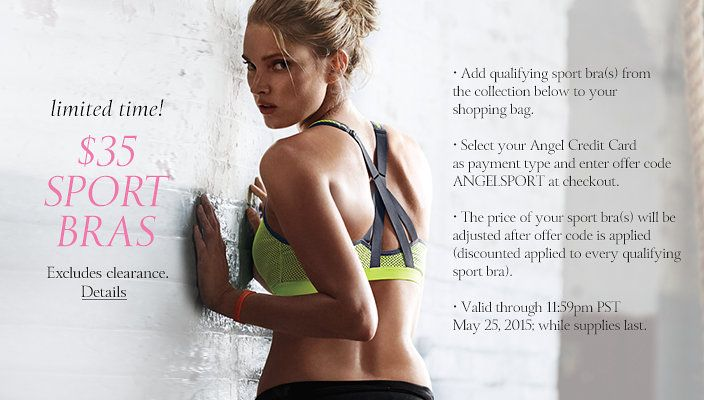 Limited Time! $35 Sport Bras. Excludes clearance. Use code ANGELSPORT. Click for details.