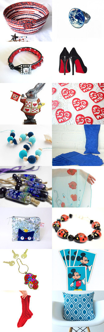 Red Meets Blue by Julia on Etsy-- #Etsy #treasury #Fibernique #rabbit #red #white #blue #basket #bowl #patriotic #trendy #scarf #rabbit   Pinned with TreasuryPin.com