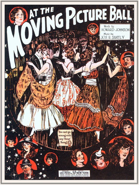 Vintage Art Print Old Song, Music Poster Moving Picture Ball