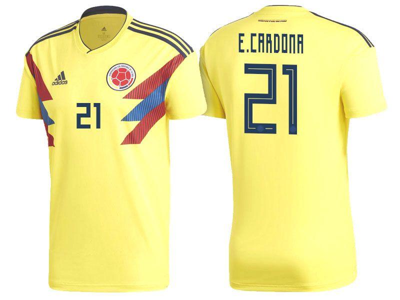25bc14ef0cc 2018 World Cup Colombia Soccer Home Jersey Shirt edwin cardona ...