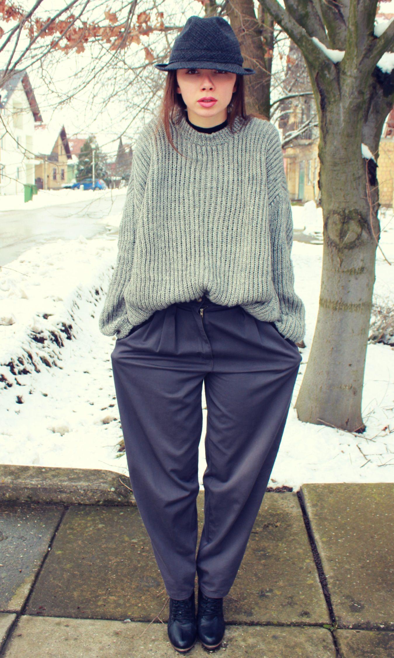 Women's Black Turtleneck, Grey Knit Oversized Sweater, Navy Wide ...