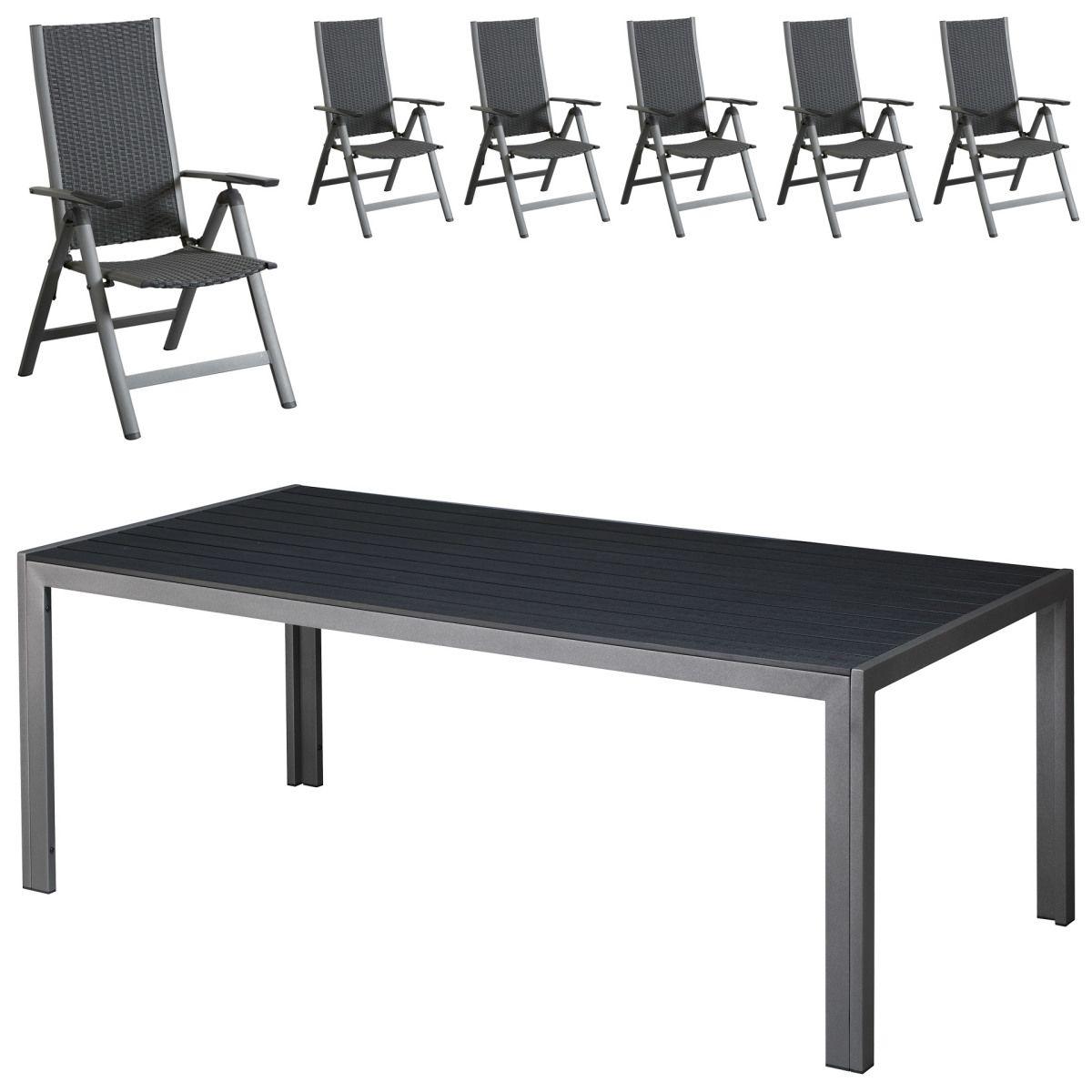 Gartenmöbel Set Las Vegas/Pasadena (100x205, 6 Stühle, schwarz