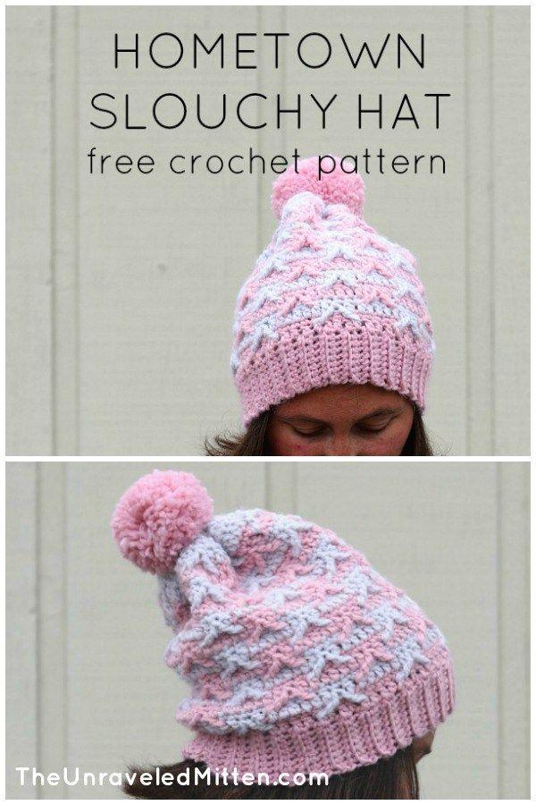 Hometown Crochet Slouchy Hat Pattern | Hats | Pinterest