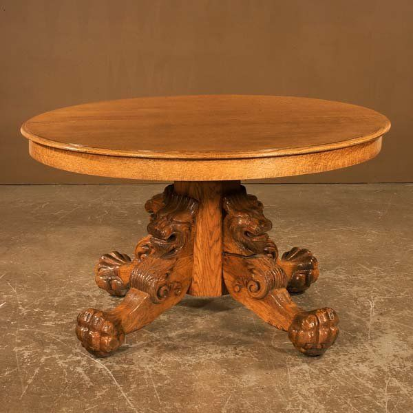 Superior Round Oak Table With Lion Head Carved Legs