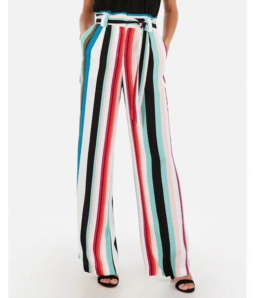 247b5f024dee Express High Waisted Multi Stripe Sash Tie Wide Leg Pant in 2019 ...