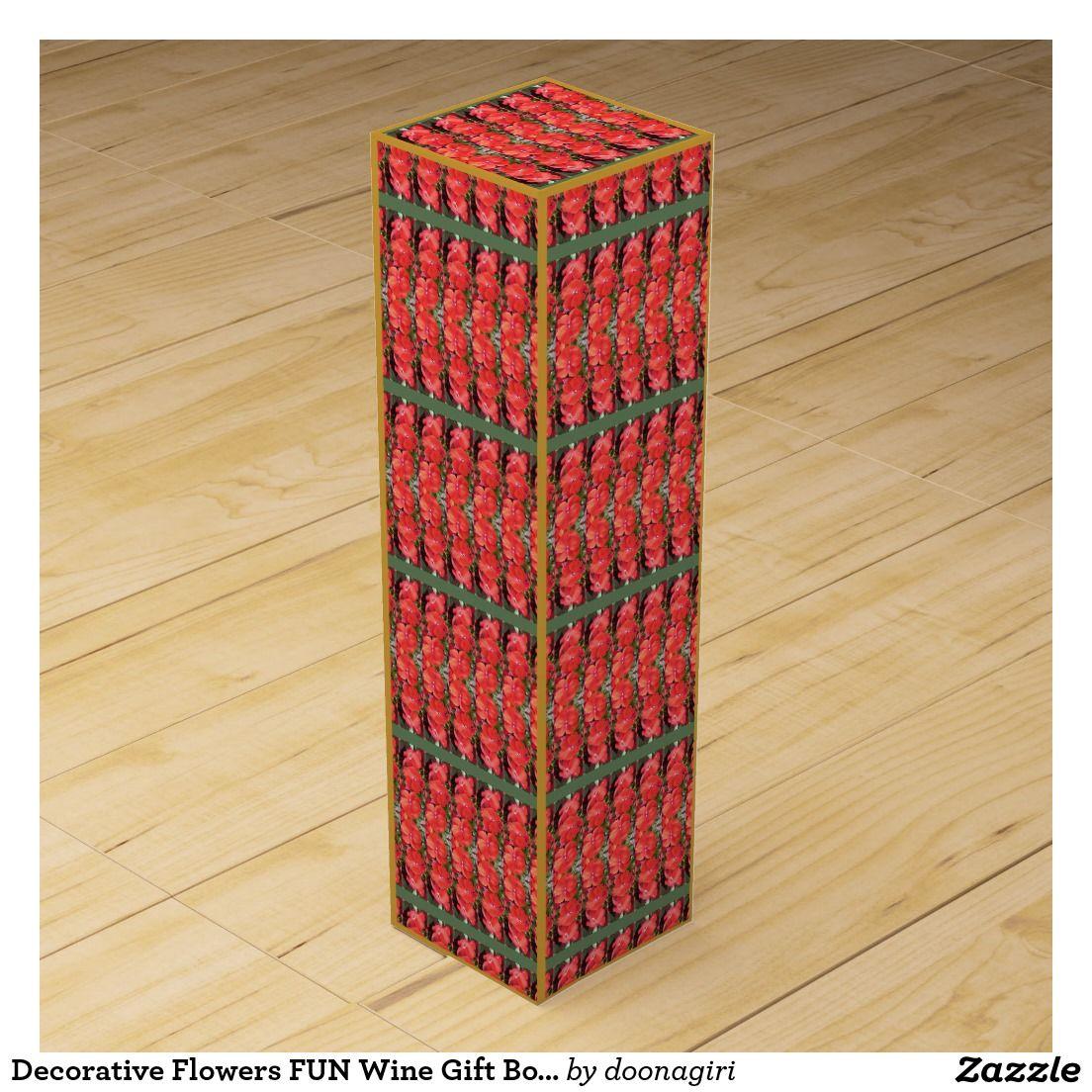 Decorative Flowers Fun Wine Gift Box Navinjoshi Zazzle Com 101
