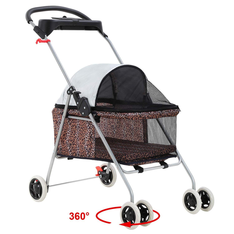BestPet Pet Stroller 4 Wheels Posh Folding Waterproof