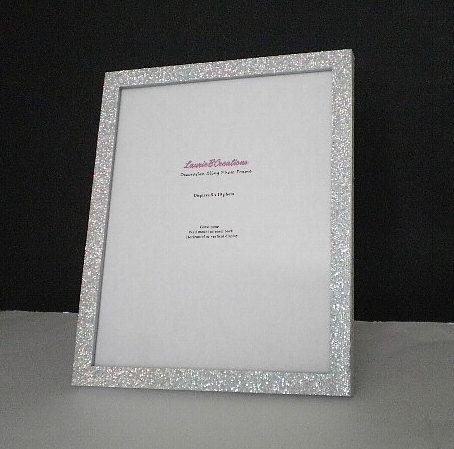 SILVER GLITTER Picture Frame -Decorative, Super Sparkling Octagon ...