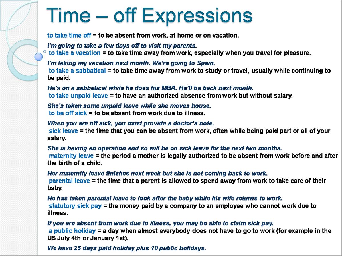 TimeOff Expressions Learnenglish  Matura Z Jzyka Angielskiego