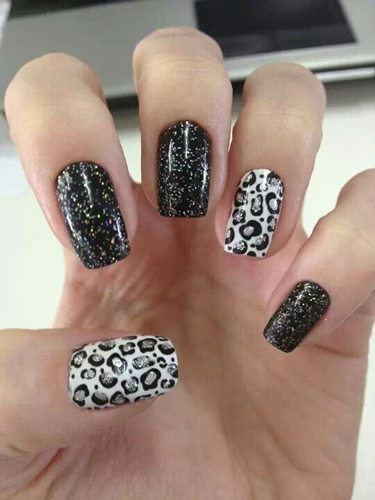 Glittery Animal Print Leopard Print Nails Leopard Nails Animal Print Nails