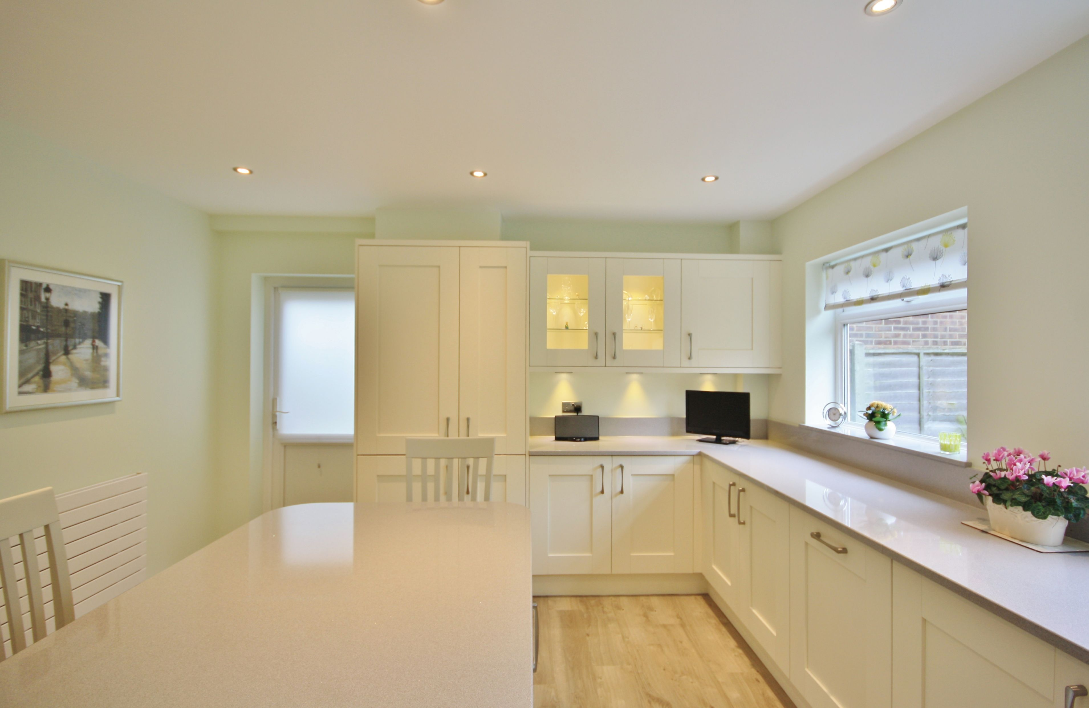 Shaker Kitchen Design In Ivory With Light Grey Worktops Shaker