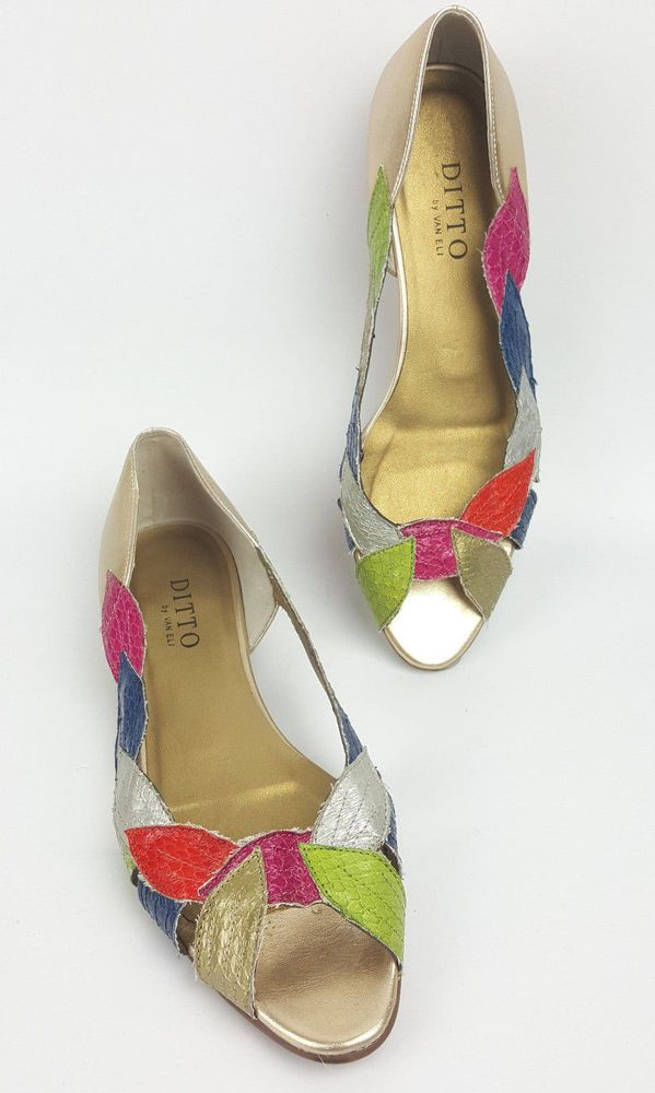 f06b0c582dcc Van Eli Ditto shoes 8 M multi-color and metallic leaves peep-toe flats   DittobyVanEli  Flats  Casual