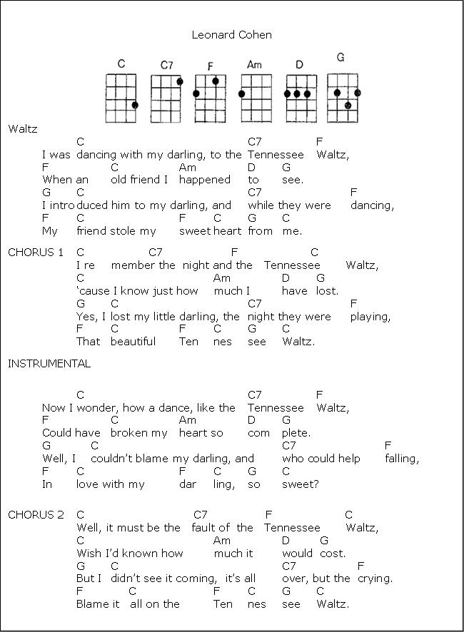 Tenessee Waltz Ukulele Fanatic Pinterest Songs Guitars And