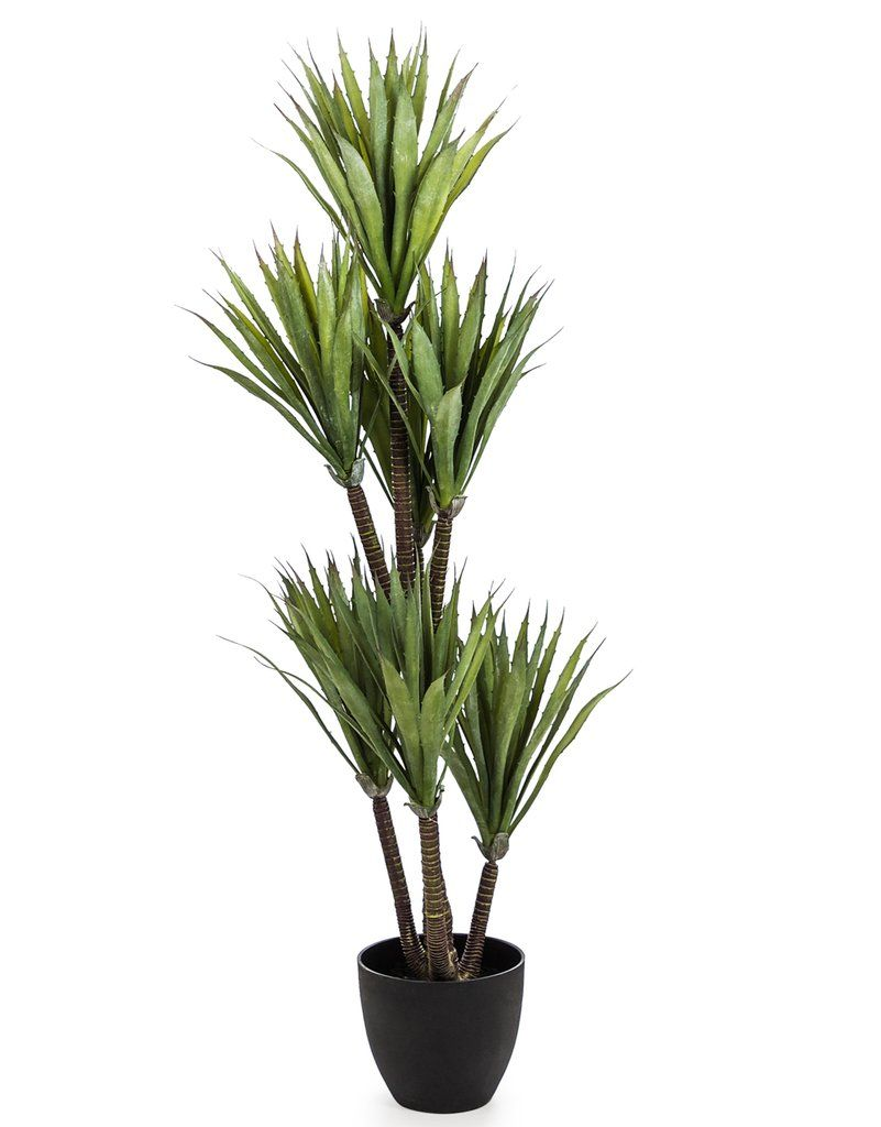 Large Artificial Plant Yucca Tree in Black Pot Faux