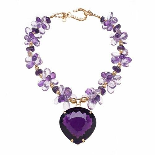 191 Carat Amethyst Gold Pendant Necklace Purple amethyst 18k