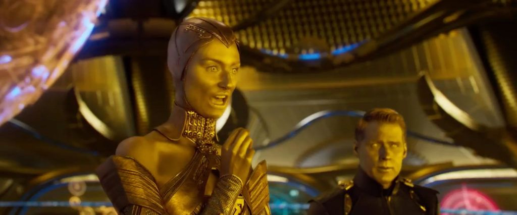 Elizabeth Debicki As The High Priestess Of The Golden Skinned Sovereign Race In Guardians Of Guardians Of The Galaxy Guardians Of The Galaxy Vol 2 Ben Browder
