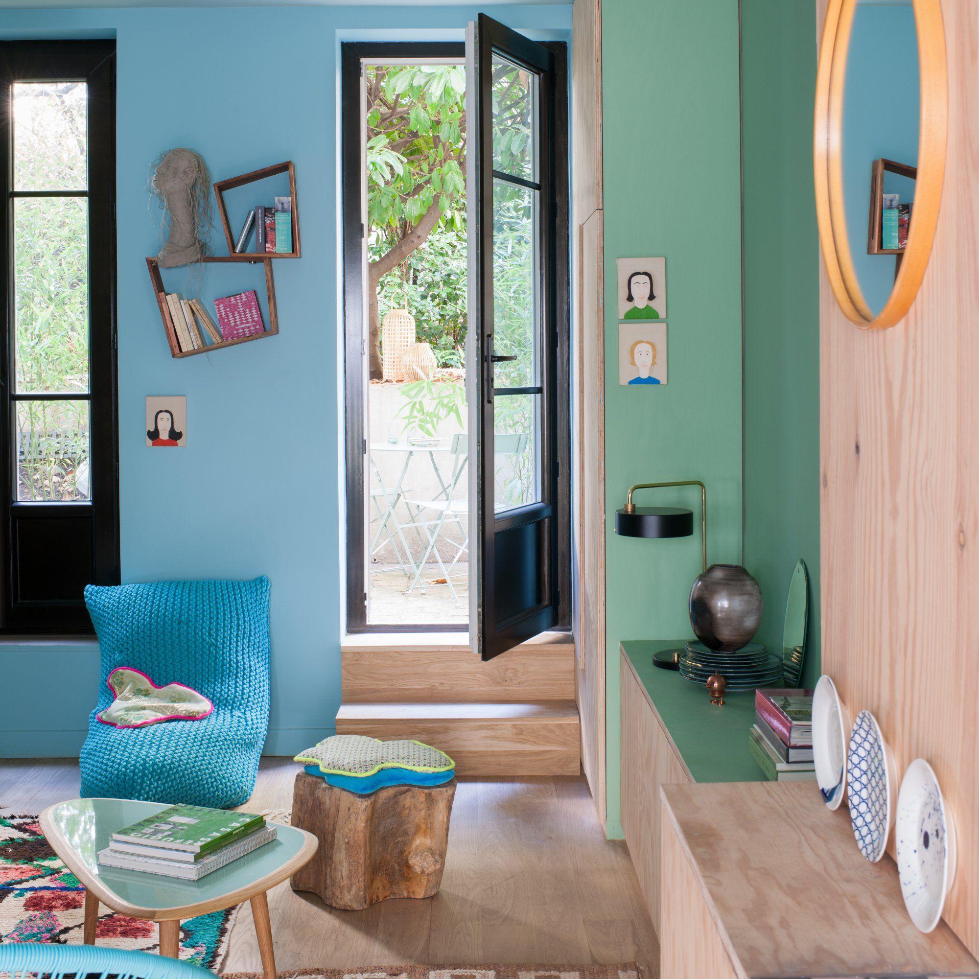salon bleu turquoise arty et d233co home �� wall colour