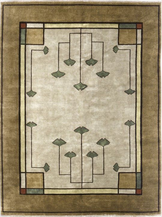 Mission Style Area Rugs The Gingko Motif In Arts And Crafts