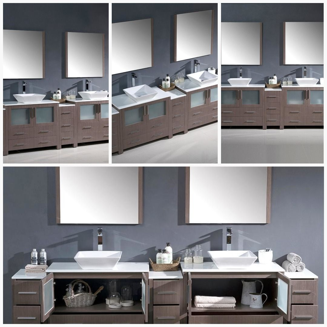 Fresca Torino 108 Gray Oak Double Sink Bathroom Vanity Cabinets Vessel Sinks Cabinets Ca Double Sink Bathroom Vanity Bathroom Vanity Double Sink Bathroom