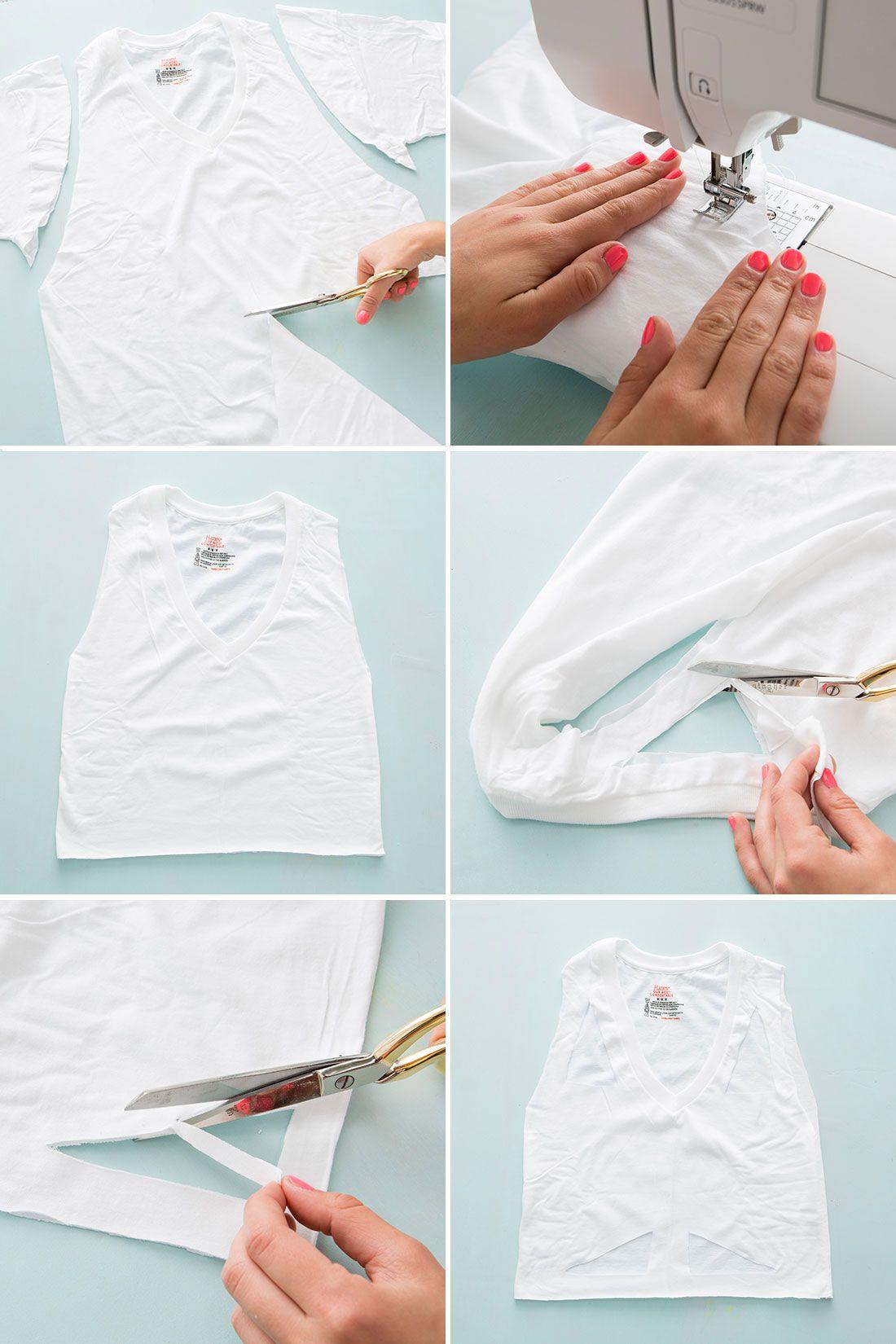 10 Ways to Cut Up + Restyle a Plain White T-Shirt | Shirt hacks ...